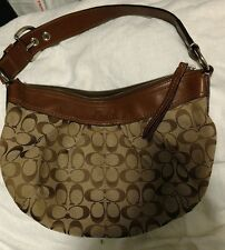 COACH F13741 Soho pulley Ted Signature Shoulder bag Canvas Leather EUC