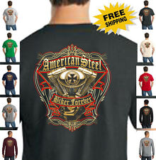 American Steel Biker Forever Classic Motorcycle Custom Choppers Mens T Shirt