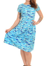 WOMENS RUN&FLY Retro Vintage 50's style tea dress in blue with shark print