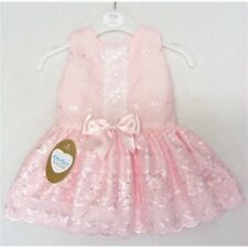 GIRLS KINDER BOUTIQUE BRODERIE ANGLAISE PINK BOW SPANISH STYLE DROP WAIST DRESS