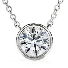 14K White Gold 0.75 ct Round Diamond Solitaire Bezel Pendant & Necklace Chain