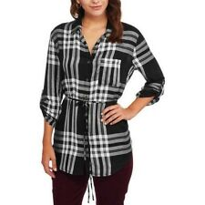 Faded Glory Women's Rayon Plaid Tunic Top Size 8-10 Medium, 12-14 Large