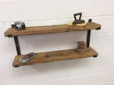 WOOD 2 TIER SHELVING  SHELF SYSTEM SOLID STEEL INDUSTRIAL RUSTIC