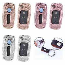 Diamond Car Key Fob Cover For VW Volkswagen Shiny Aluminum Case Leather Keychain