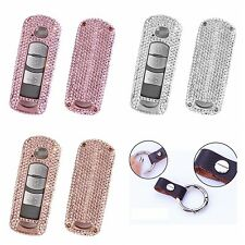 Diamond Car Key Fob Cover For Mazda Shiny Aluminum Case Genuine Leather Keychain
