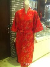 red black Chinese men's silk/satin Kimono Robe Gown Dragon M-XXL