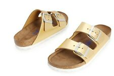 BIRKENSTOCK ARIZONA GOLD LEATHER WOMEN SANDALS SLIPER HT7J6E420GD