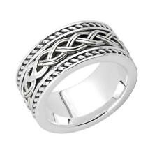 New Silver Irish Celtic Knot Work Band Ring Celtic Jewellery Made in Ireland