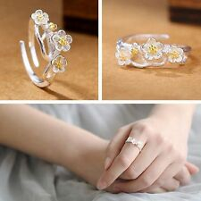 Jewelry Adjustable Rings Flower Shaped Cherry Blossom 925 Sterling Silver