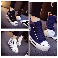 2017 New Korean Women's High-top Lace-up Platform Casual Canvas Sneakers Shoes