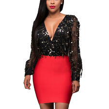 Spring Women's Sexy Sequins Deep V-Neck Backless Bodycon Club Party Mini Dress