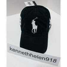 NWT POLO RALPH LAUREN BIG PONY BASEBALL CAP HAT BLACK ONE SIZE ADJUSTABLE