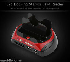 New 875 eSATA Dual IDE HUB HDD Docking Station Card Reader US/EU PLUG