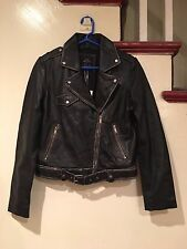 NEW WOMEN'S ZARA TRF FADED LEATHER BIKER JACKET, M and L, REAL LEATHER, RARE