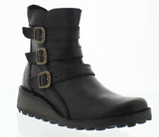 Fly London Myso biker style ankle boots in black leather size Eu 39 LAST PAIR