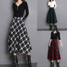 Women Vintage Long Plaid Pleated Skirts Wool A-line Maxi Full Skirt with Pockets