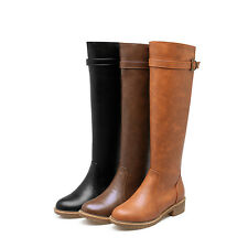 Knee High Riding Boots AU All Size New Med Heel Zip Synthetic Women Shoes s532