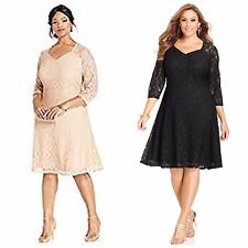 Spense Illusion Lace Sweetheart Neckline Crochet Dress Black Beige Plus 22W P2