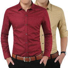 New Men's Printing Shirts Tops Slim Fit Long Sleeved Cotton Casual Dress Shirt