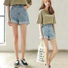 Women High Waisted Mini Jeans Shorts Summer Oversize Crimp Pants Denim Trousers