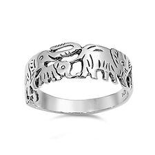 Lucky Elephant Band Ring 925 Sterling Silver Elephant Ring Choose Color