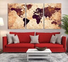 Grunge Watercolor World Map Canvas Print - Large Wall Art World Map Canvas Print