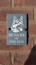 "BEWARE OF THE DOG GERMAN SHEPHERD NATURAL SLATE 6""X4"" HOUSE DOOR PLAQUE SIGN"
