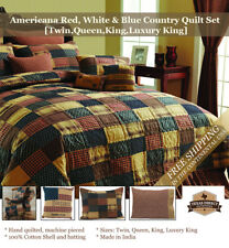 Patriotic Country Patchwork Quilt Set ~ Red, Navy Blue,Tan  (Twin, Queen, King)