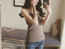 Fashion Women Sexy Simple Strap Vest Solid Color Knitted Shirt  Party Nightwear
