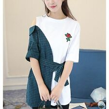 Off Shoulder Stripe Plaid Womens Embroidered patch Shirt Blouse Flower Rose Tops