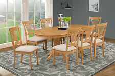 M&D FURNITURE OVAL DINETTE DINING ROOM TABLE SET SOFT-PADDED SEAT IN OAK FINISH