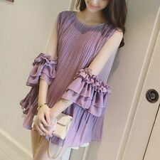 Korean Women Summer Tops High Quality 3/4 Puff Sleeve Pleated Lace Chiffon Dress