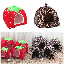 1 PC Comfortable Leopard Print Strawberry Pet House Dog Cat Bed Cave Tent Kennel