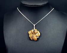 Genuine Stone Flower Tiger's Eye - Sterling Silver Tiger's Eye Necklace