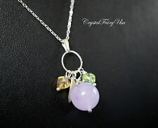 Sterling Silver Purple Chalcedony Necklace - Chalcedony Tassel Necklace - Brides