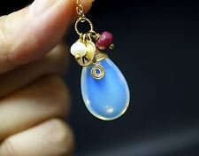 Gold Filled Opal Necklace, Teardrop White Opal Pendant - Named Initial Necklace