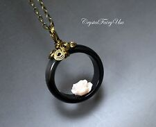 Ring Necklace - Genuine Black Onyx Necklace - Coral Rose Flower Necklace - Retro