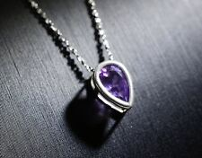 Amethyst Necklace - Tiny Silver Starry Chain Natural Amethyst Choker