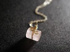 Wrapped Rose Quartz Necklace in Sterling Silver, Tiny Faceted Rose Quartz Cylind