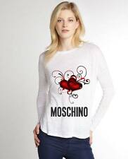 White Women Top Blouse New Modern Sexy T-shirt Hearts Moschino