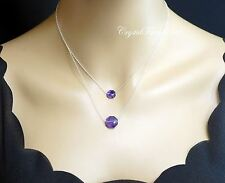 Faceted Amethsyt Layered Necklace Set - Sterling Silver Amethyst Stone