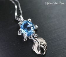 Genuine Swiss Blue Topaz Necklace, Sterling Silver Fish Necklace, Large Topaz Pe