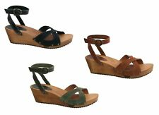 Sanita Thalia Wedge Flex Sandal Vintage Leather/Oil Suede Womens Shoes Wedge