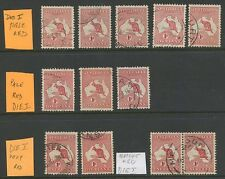 1913 Roo 1st WMK RED SHADES, DIE1, 12 STAMPS VFU.