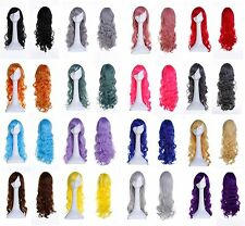 Long Multi Color Curly Full Head Wigs Cosplay Party Fancy Dress Wig Decoration