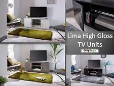 Lima High Gloss TV Entertainment Unit Cabinet in 3 Colours Black Grey White