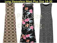 Plus Womens Sleeveless Maxi Dress Ladies Floral Flower Print Stretch New 14-28