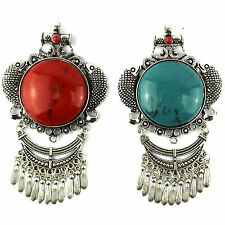 vintage style big necklace jewelry pendant round resin charms pendants
