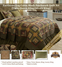Log Cabin Patchwork Quilt Set Moss Green, Brown, Tan (Twin,Queen,King,Lux King)
