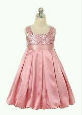 Girls Sequins & Satin Dress, Pink, Sequin Bodice, Satin Skirt, sizes 10,12